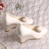 wedopus телесного цвета атлас открытый носок женское платье танкетка свадебные туфли ручной работы