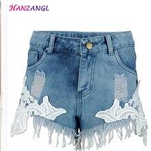 HANZANGL 2017 разорвал карманный женщины шорты Летние случайные джинсовые шорты старинные горячие шорты кружево синий джинсовые шорты Плюс размер S-XXL