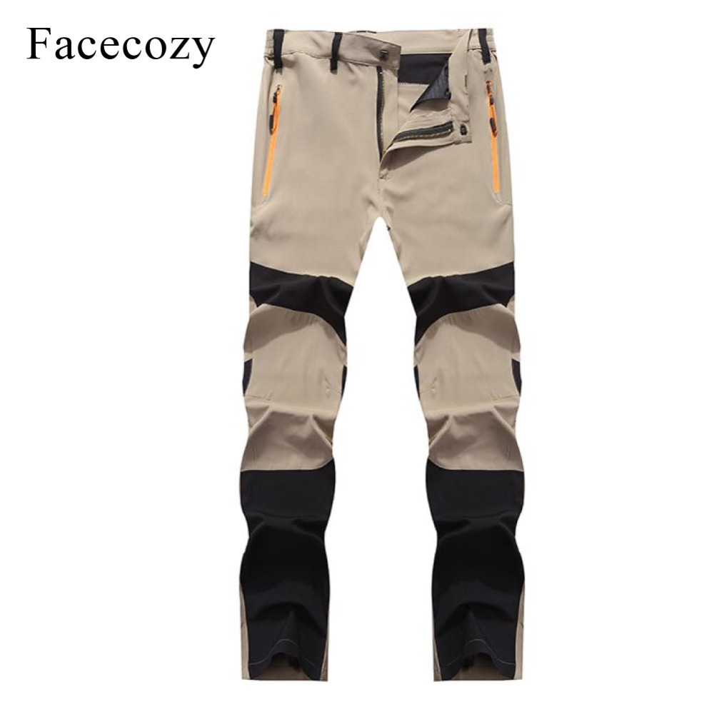 Facecozy Men Summer Quick Dry Outdoor Sports Pants Thin Ultralight Anti-UV Hiking Pants Male Elastic Breathable Fishing Trousers facecozy men summer camouflage sports shorts male outdoor tactical military fishing short trouser with multi pockets