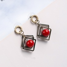 Statement Geometric Red Simulated Pearl Drop Earrings For Women Bijoux New Fashion Jewelry Gifts