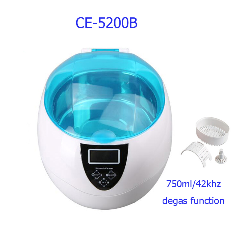 Mini Ultrasonic Cleaner with degas function for Jewelry Watches Dental PCB CD 750ml 35W 42kHz ultrasonic bath cleaner 0 75l tank baskets jewelry watches injector ring dental pcb 35w 42khz digital mini ultrasonic cleaner