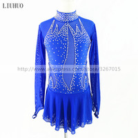 Figure Skating Dress Women's Girls' Ice Skating Dress Blue collar long sleeve Sparkling rhinestones High elasticity
