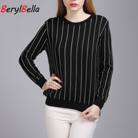 2019 New Fashion Spring Autumn Striped Jumper Women Knitted Bottoming Sweater Tops Female Casual Pullovers Pull Femme BerylBella