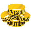 300pcs One inch silkscreen printed construction party caution wristband silicone bracelets free shipping by FEDEX express