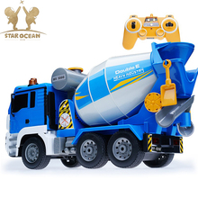 Rotating RC Truck Mixer Enginnering Dump Trcuk Cement Model Toys Simulating Building Contruction Work