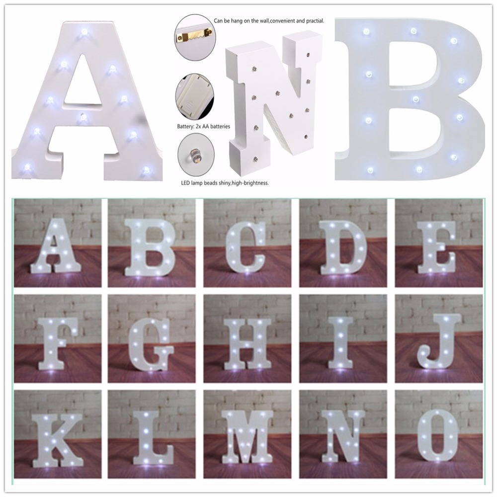 White wood LED night letters letra luminosa wedding indoor wall desktop decoration for wedding birthday party lights A-Z &