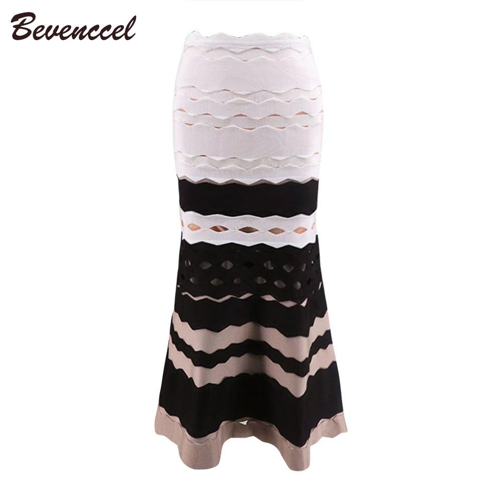 2019 nouveauté mode noir Beige blanc Patchwork une ligne longueur de plancher Jacquard célébrité fête Bandage jupe