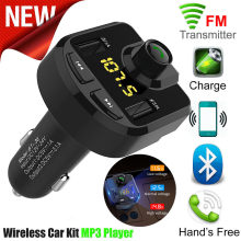 Bluetooth 4,0 coche FM Transmisor Inalámbrico Radio coche USB Mp3 reproductor de coche estéreo 12-24V LCD pantalla digital(China)