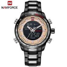 520ee9466cf NAVIFORCE Marca Top Men Esporte Militar Relógios Dos Homens Inoxidável  Exército Analógico Digital LED Relógio Masculino