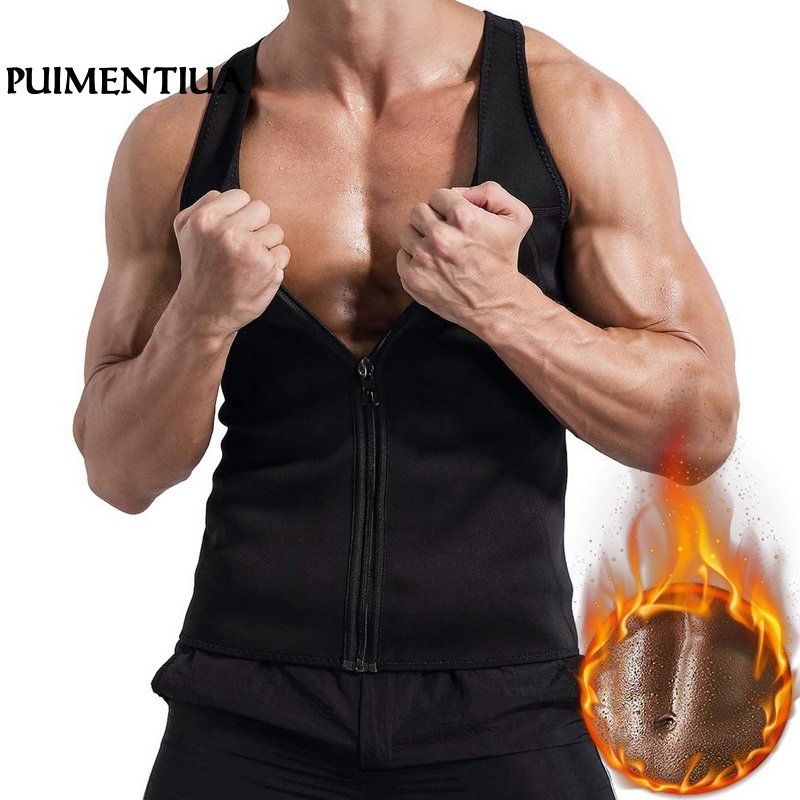Puimentiua 2019 Men's Workout Trainer Vest Sweat Sauna Waist Trainer Body Shaper Slim Fit Male Athletic Gym   Tank     Tops   Shirt