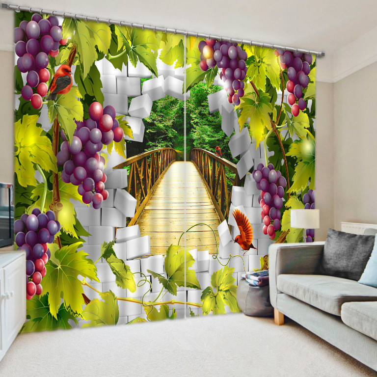 Purple Grape Creative Visual Effect 3D Curtains for Bedding Living Room Thick Backout Shade Office Shround Customized Size