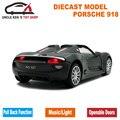 15 cm 1:32 Diecast 918 Spyder Modelo, aleación niños toys, de Metal Del Coche Deportivo, Regalo del muchacho Con Retirarse Función/Música/Luz/Puerta Practicable