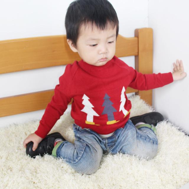 Crianças primavera outono meninos meninas blusas bebê o-pescoço manga longa tress impresso camisola de malha cardigan crianças roupas chrismtas