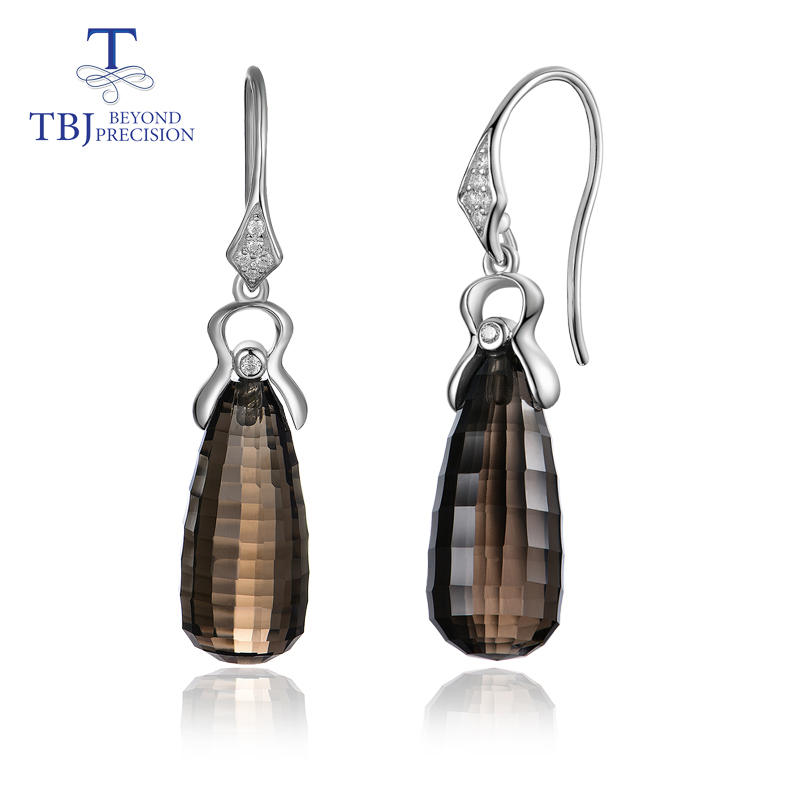 TBJ Smoky quartz drops earrings natural gemstone 9 20mm match 925 sterling silver simple luxury jewelry