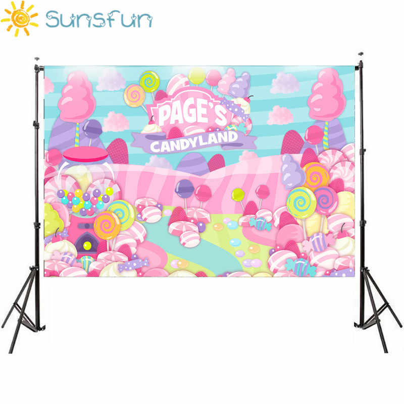 Sunsfun Candy Bar Background Cupcakes Donuts Icecream Candy path Dessert Wonderland a photo decorations cloths polyester