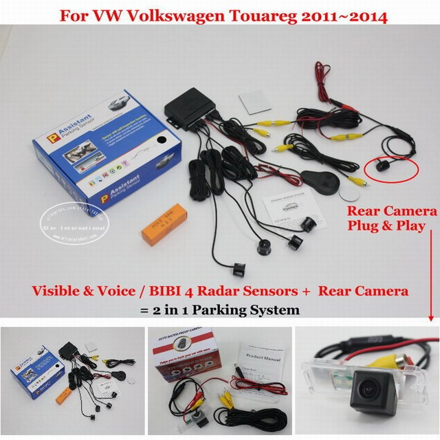 For VW Volkswagen Touareg 2011~2014 Car Parking Sensors + Rear View Back Up Camera = 2 in 1 / BIBI Alarm Parking System