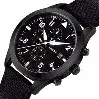 Paño negro correa 2017 de la alta calidad reloj mecánico reloj de la marca de noche de luz multi-función automática de piloto militar a prueba de agua