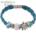 MANBALA Braided Rope Bracelets & Bangles with Turtle Crystal Weave Bracelets for Women Wedding Turkish Jewelry Pulseras 300AB05