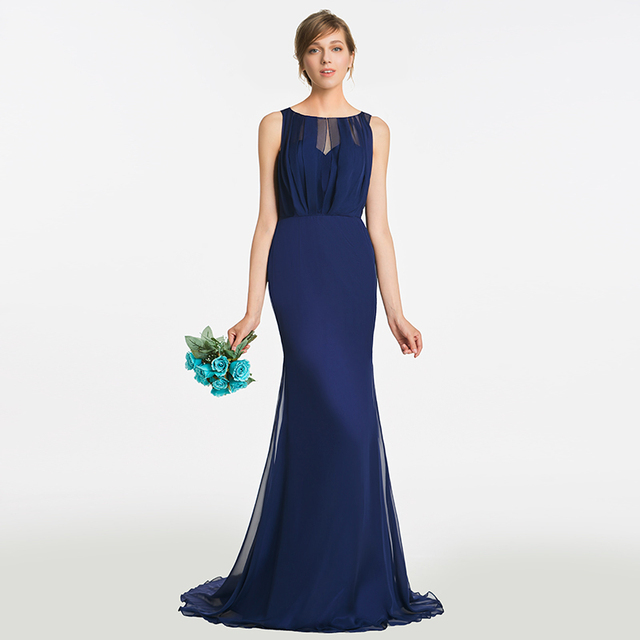 Tanpell hollow bridesmaid dress dark navy sleeveless floor length ...