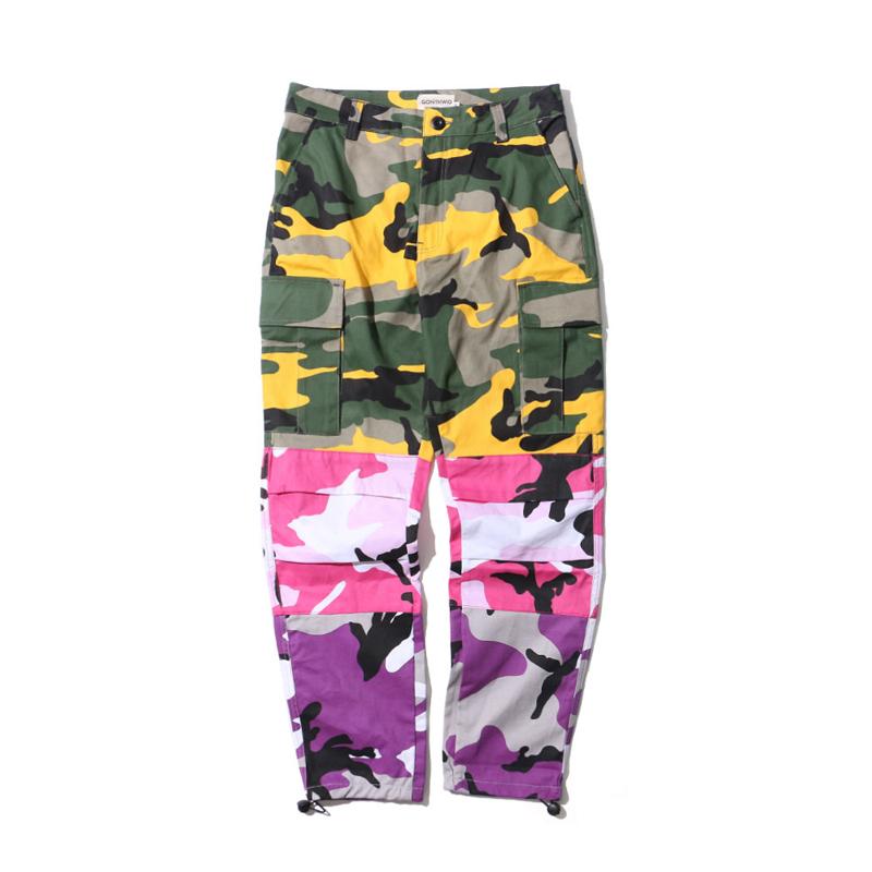 Tri Color Camo Patchwork Cargo Pants 1