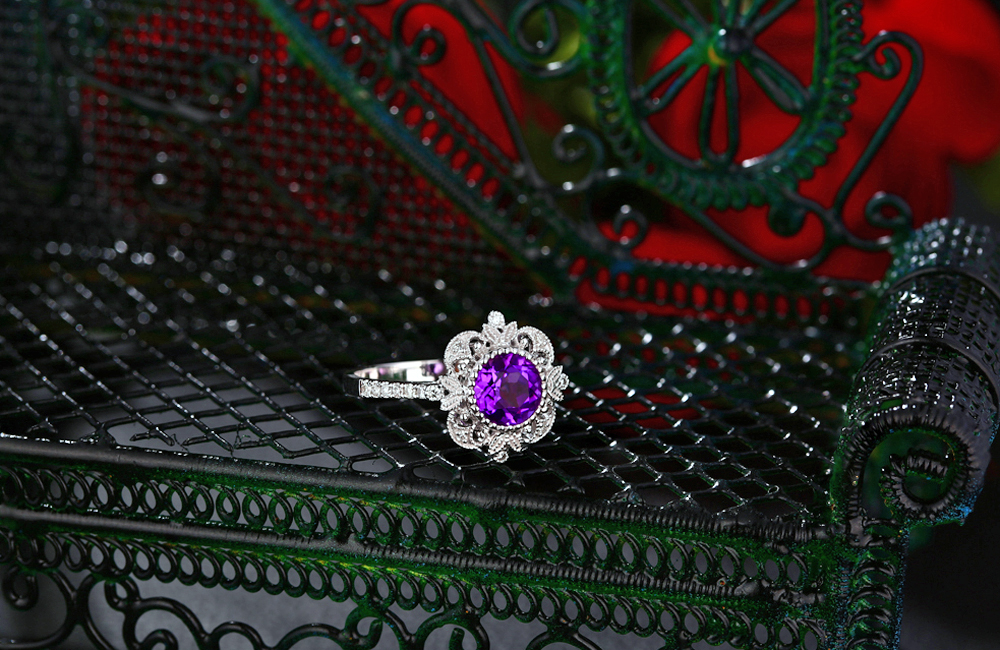Caimao Jewelry 1 25ct Amethyst 14kt Gold 0 15ct Natural Diamond Engagement Ring in Rings from Jewelry Accessories