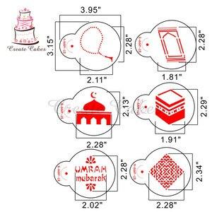 Image 2 - עיד מובארק סטנסיל עבור עוגה ועוגיות פלסטיק דקורטיבי סטנסיל יצק קישוט Sugarcraft בישול כלים