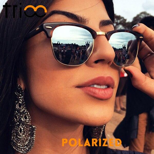 d873581d53e TRIOO Classic Vintage Polarized Sunglasses Women Brand Designer Sun Glasses  For Women Retro Semi Rimless Oculos Shades Female