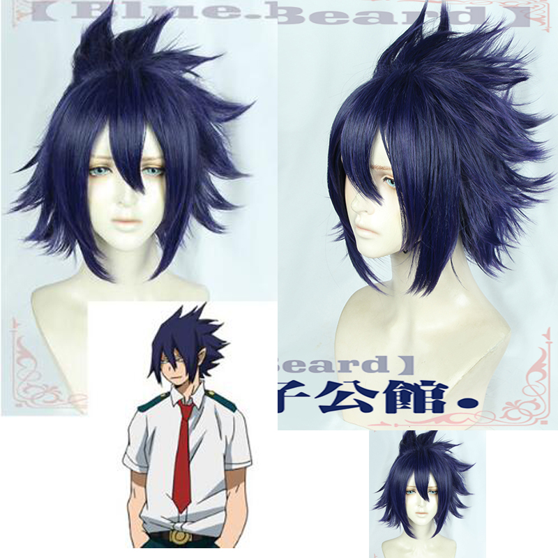 My Hero Academia 3 Tamaki Amajiki Cosplay Wig Boku no Hero Academia 3rd Season Short Blue Purple Anime Synthetic Hair + Wig Cap image