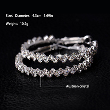 17KM Brand New Design Fashion Charm Austrian crystal hoop earrings Geometric Round  Shiny rhinestone big earring jewelry women