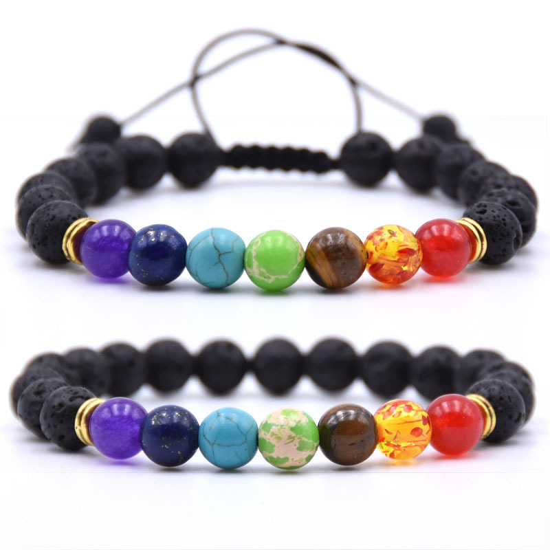 SEVENSTONE Charm 8MM Reiki Natural Stone 7 Chakra Simple Health Bracelet for Women Jewelry for Lovers Send Mom on Mother 39 s Day in Strand Bracelets from Jewelry amp Accessories
