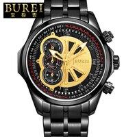Burei марка мужчины сапфировое стекло повседневная кварцевые часы водонепроницаемые светящиеся наручные часы с премиями пакет 17002