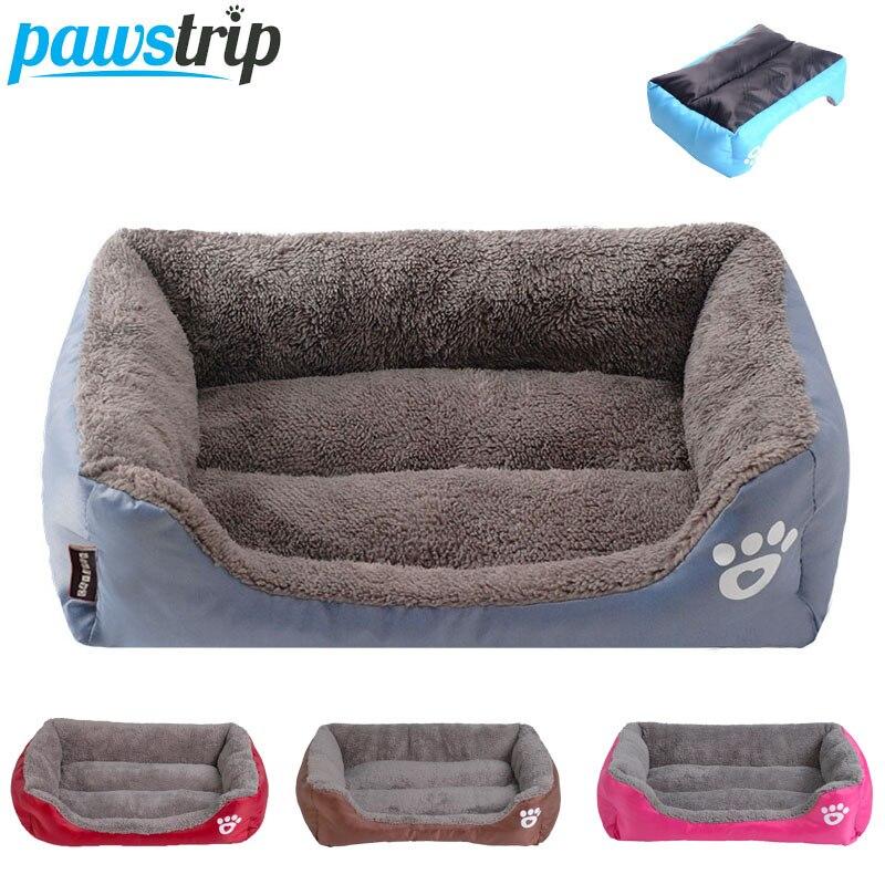 S-3XL 9 Colori Paw Pet Divano Cane Letti Fondo Impermeabile Morbido Pile del Gatto Caldo Letto di Casa Piccolo Negozio di Animali Dropshipping cama perro