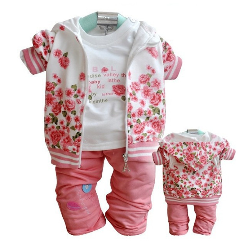 Spring&Autumn Baby girls clothing 3pcs sets coat long sleeve flowers jacket children clothes kids Tracksuit girl's outwear sets new autumn sweet girls sets two piece cardigan outwear cape jacket long sleeve dress cotton lace kids girls clothes sets