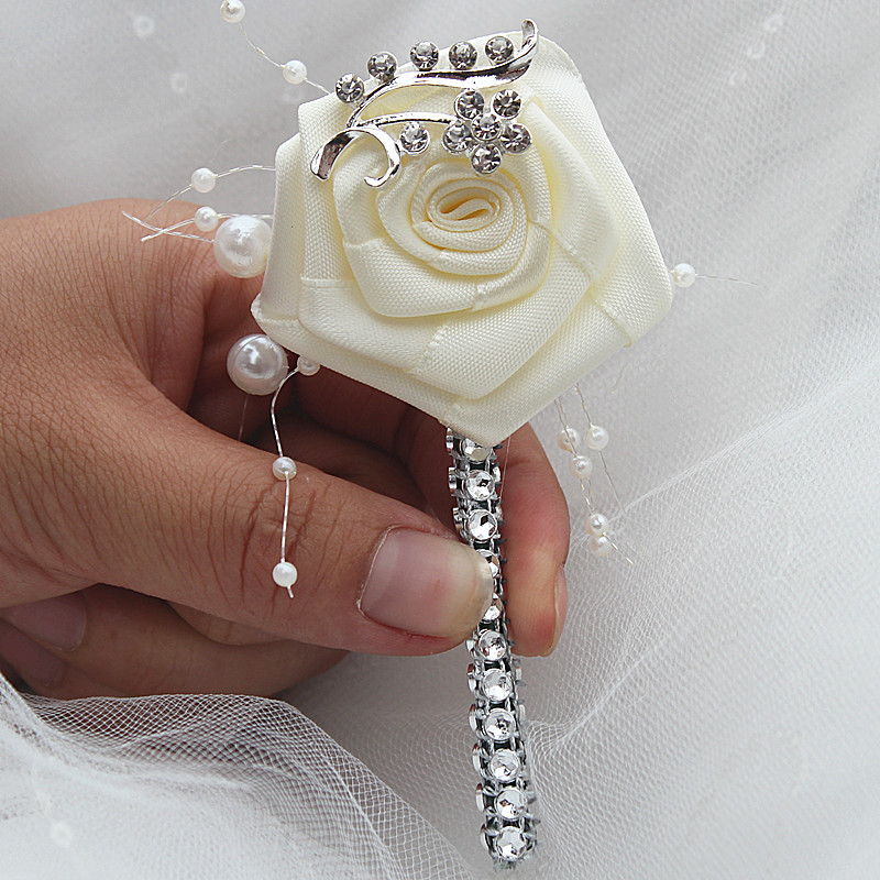 IVORY ROSE BUTTONHOLE PEARLS CORSAGE I DO GROOM BRIDES WEDDING FLOWERS