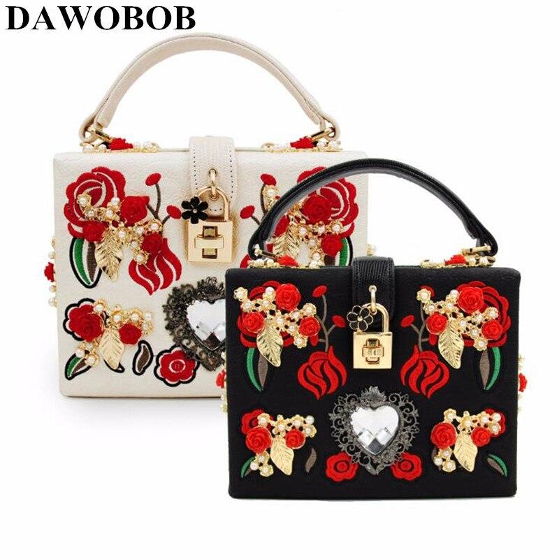 Mode de luxe PU broderie diamant rouge Rose fleur perlée femmes épaule sacs à main sacs à bandoulière sacs de soirée boîte d'embrayage