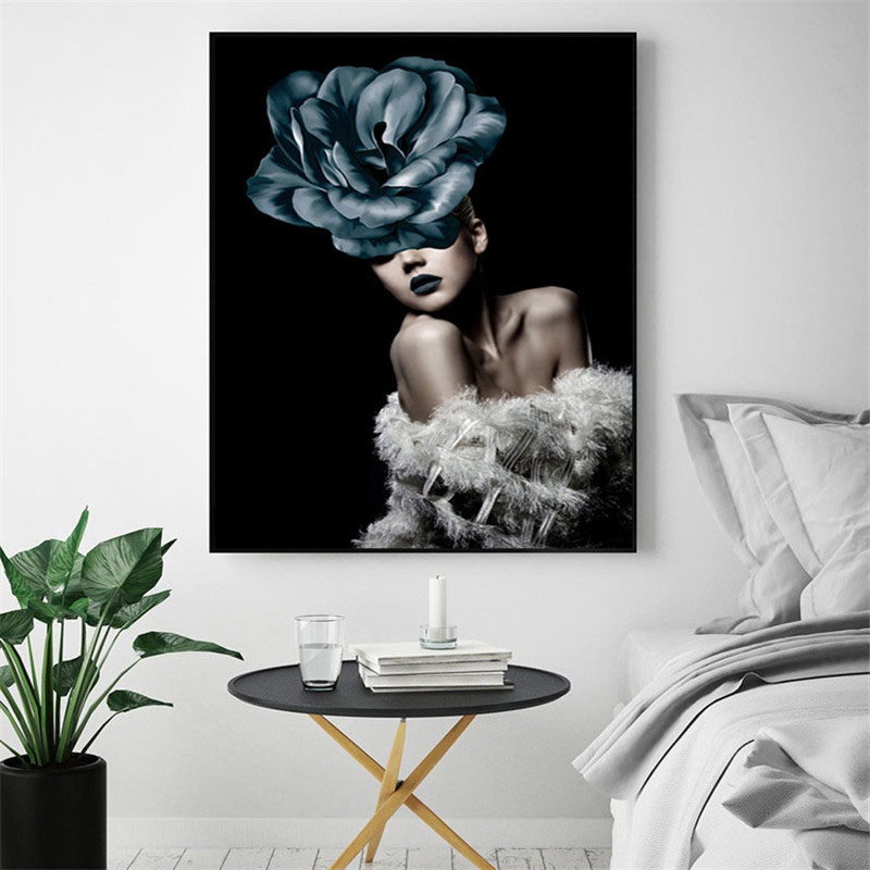 HAOCHU Nordic Canvas Decorative Painting Poster Fashion Modern Character Flower Rose Creative Girls Bedroom Living Room Hotel in Painting Calligraphy from Home Garden