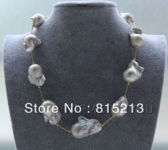 ddh00434 WOW!! Natural 32mm white Baroque Reborn Keshi pearls necklace magnet