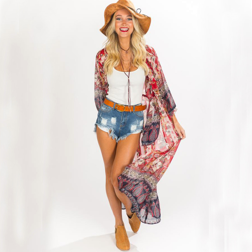 Sxey Women Beach Cover Up Bikini Swimsuit Swimwear Bathing Suit Kimono Cardigan Beach Wear Solid Cardigan Cover Up