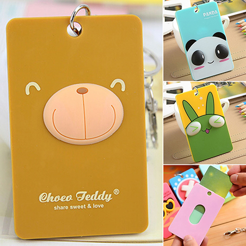 Lecool Store Cartoon PVC Credit Card Holder Keyring Key Chain Sleeve Set Bus Card Case Bag Birthday Gifts BV5Y