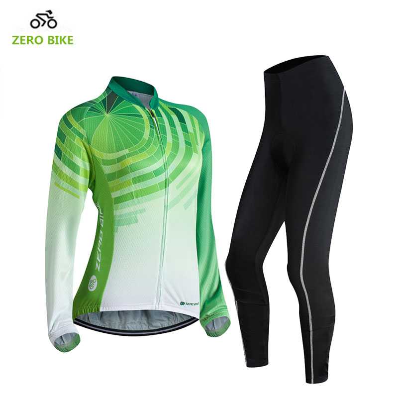 ZEROBIKE New Women s Long Sleeve Cycling Clothing MTB Bike Breathable Sports Jersey Green Tops 3D