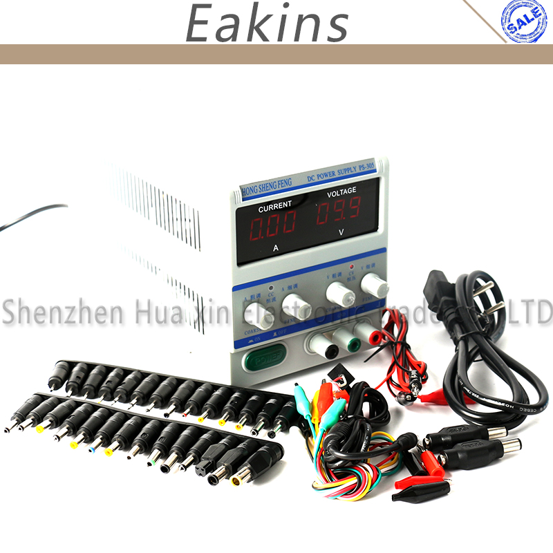 High precision Digital Adjustable DC Power Supply 0-30V 0-5V +39pcs/set DC JACK For Lab Notebook computer repair  EU Plug  220V original lw mini adjustable digital dc power supply 0 30v 0 10a 110v 220v switching power supply 0 01v 0 01a 34 pcs dc jack