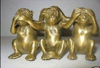 Chinese Old Collectibles Chinese Brass See Speak Hear No Evil 3 Monkey Small Statues decoration brass factory outlets
