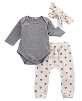 3pcs Newborn Infant Baby Girls Clothes Long Sleeve Gray Bodysuit Tops Heart Pants Leggings Headband Outfit