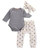 3pcs Newborn Infant Baby Girls Clothes Long Sleeve Gray Bodysuit Tops Heart Pants Leggings Headband Outfit