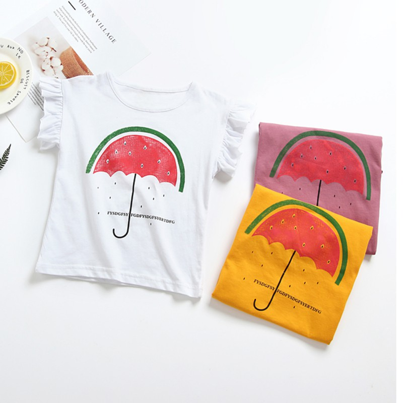 Hot In ins Baby Girl Clothes Summer 100% Cotton Cartoon Girls T-Shirt Tops Tee Children Clothing Short Sleeve Baby Girls T Shirt