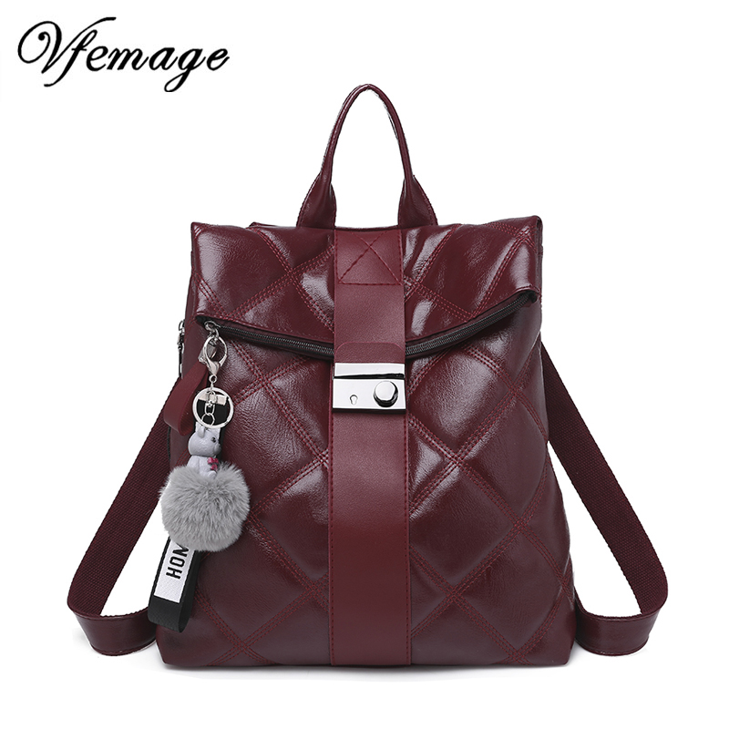 Vfemage Fashion Retro Multifunction Backpack Women Plaid Leather Backpack Lady Small Travel Backpack Bookbag for Girls Sac A Dos