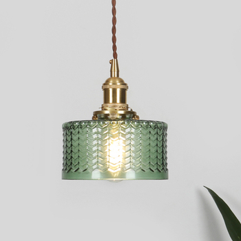 Nordic design indoor hanging lighting clear green hand blown Water pattern glass lamp shades chandeliers