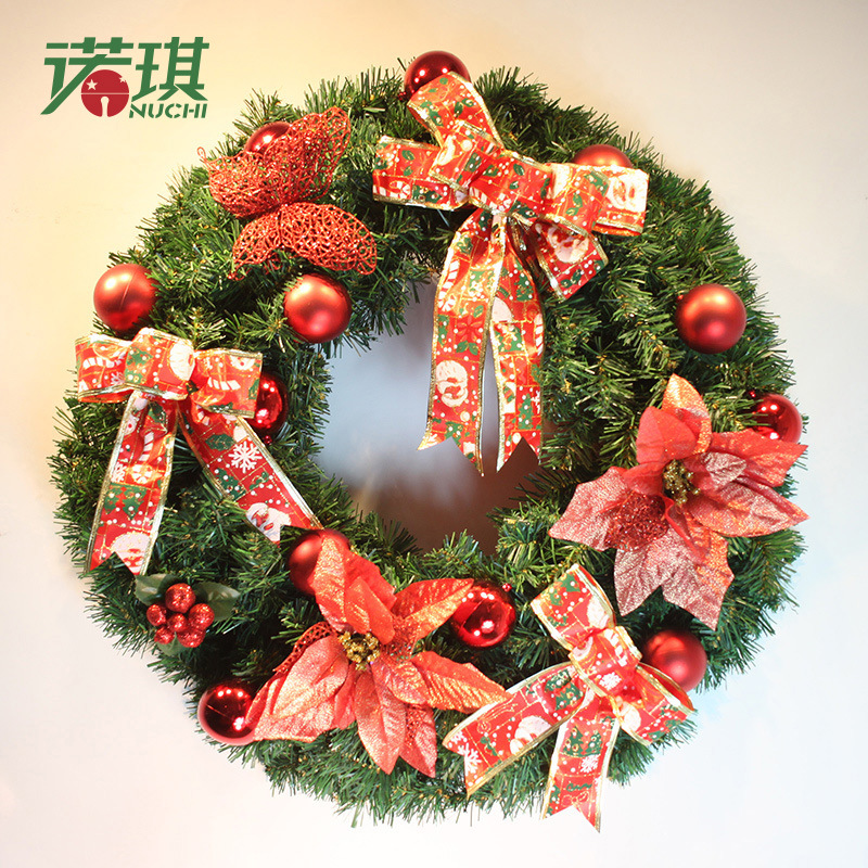 Christmas Wreath Christmas Tree Decoration For Home Party Rattan Ring Door Hanging Ornaments Gift Golden Ball + Bow + Pinecones