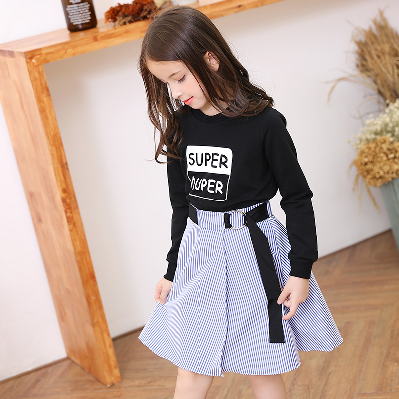 2017 Girls Denim Skirt For Girls Cute Teenage School Kids Clothes Saia for Baby Age 56789 10 11 12 13 14T Years Old Teenagers 2017 autumn girls blouse ruffle hem flare sleeves blue striped letter design for teens at age 56789 10 11 12 13 14t years old