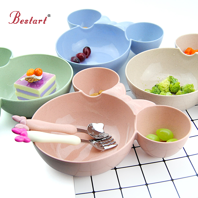 Aliexpress.com : Buy Lovely Kids Tableware Set Wheat Straw Mickey Bowl Fast  Food Dish U0026 Stainless Steel Hello Kitty U0026 Bow Tie Fork Gift Set From  Reliable ...